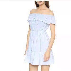 NEW! CLUB MONACO off shoulder blue silk dress sz 2